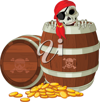 Royalty Free Clipart Image of a Skeleton Pirate in a Barrel With Coins