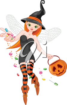 Royalty Free Clipart Image of a Trick or Treating Witch