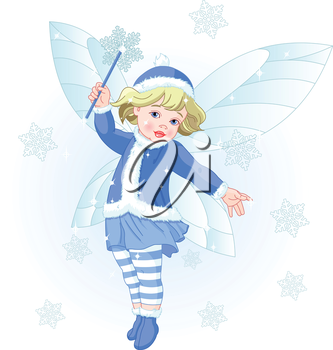 Royalty Free Clipart Image of a Winter Baby Fairy