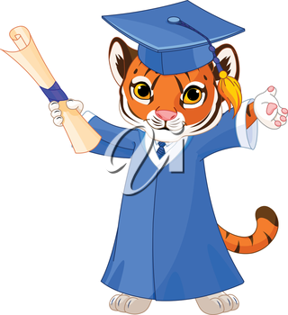 Illustration of cute tiger graduates