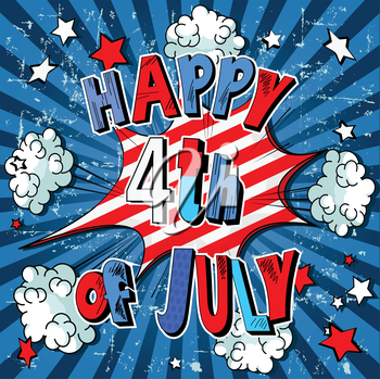 Illustration of comic book for 4th of July