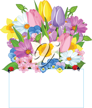 Colorful fresh spring flowers forming a seasonal border   above a blank sign with copy space