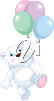 Cute polar bear flying with balloons