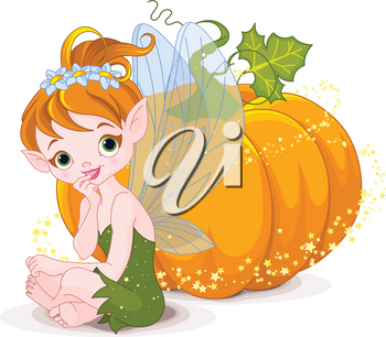 Illustration of cute fairy sitting on pumpkin