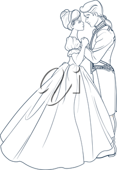 Coloring page of the royal ball dance of Cinderella and Prince