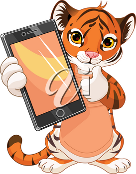 Cute Tiger cub holding tablet and showing thumbs up