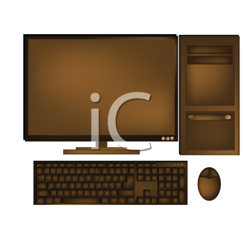 Royalty Free Clipart Image of a Computer Made From Chocolate