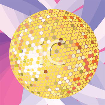 Royalty Free Clipart Image of a Bright Gold Disco Ball on a Pink and Purple Background