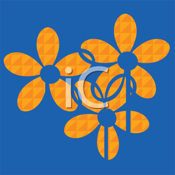 Royalty Free Clipart Image of a Three Flowers on a Blue Background