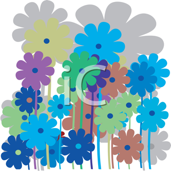 Royalty Free Clipart Image of Retro Flowers