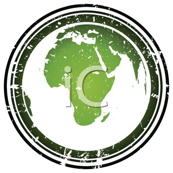 Royalty Free Clipart Image of a Grungy Stamp With the Earth Globe in Green