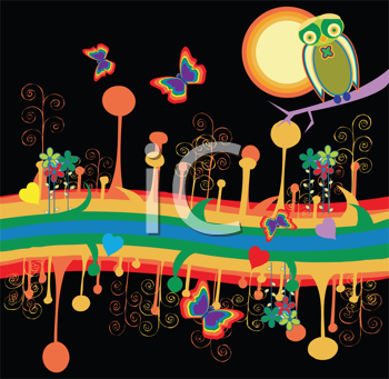 Royalty Free Clipart Image of an Abstract Night Scene With Butterflies, an Owl and a Rainbow at the Bottom