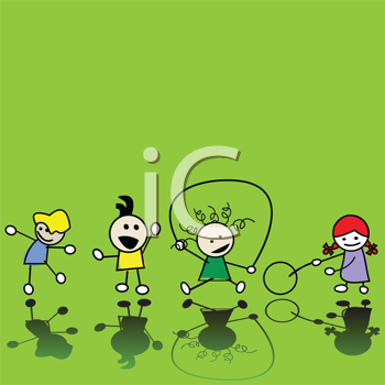 Royalty Free Clipart Image of Children Playing