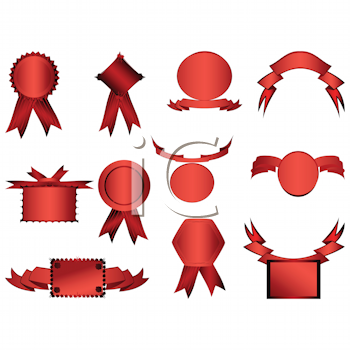 Royalty Free Clipart Image of a Set of Stickers, Badges and Frames