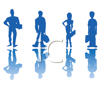 Royalty Free Clipart Image of Four Business People in Blue Silhouette