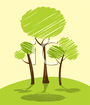 Background with green trees, cartoon sketch