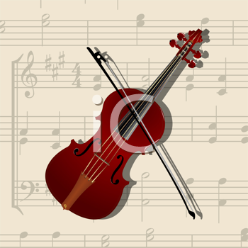 composition with classical violin and musical notes background