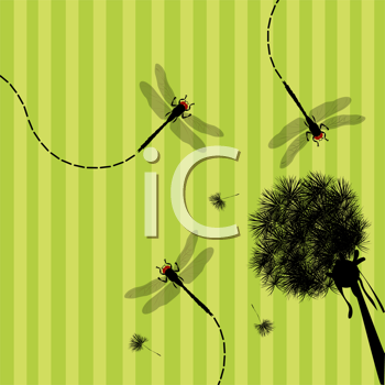 Dandelion and dragonfly illustration- spring theme background