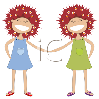 illustration of twin sisters holding hands