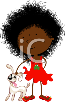 Cute curly hair black girl and puppy, isolated objects over white background