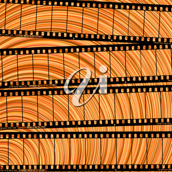 Conceptual movie background with film reel cuts, abstract art