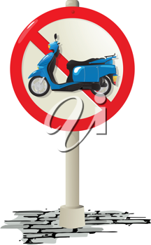 Prohibited use of a scooter road sign