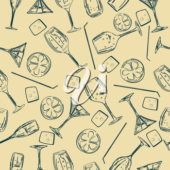 Stylized seamless background pattern with cocktail glasses, straws and ice cube