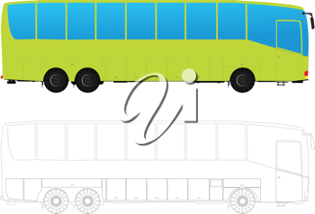 Detailed tour bus in colors and outlines against white background.
