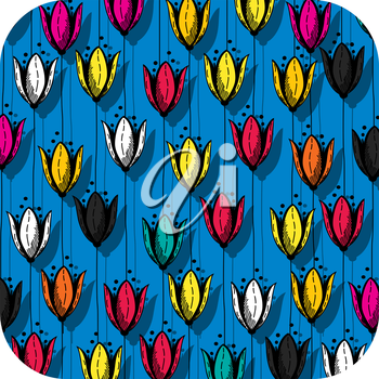 Tulip field icon, application for smart phone, isoated objet on white background