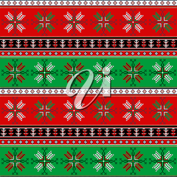 Traditional christmas knitted ornamental pattern for design