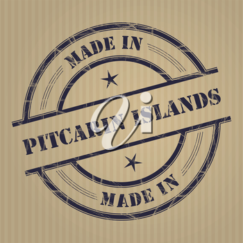 Made in Pitcarin Islands grunge rubber stamp
