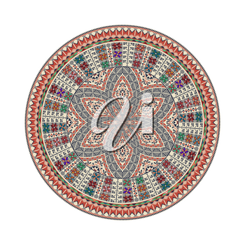 Circular pattern in traditional Palestinian style, vector design element