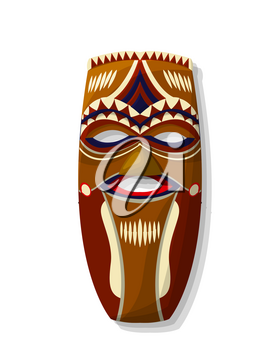 Vector african wooden tribal mask  over white background