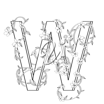 Letter W floral sketch over white background