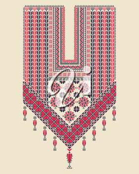 Vector Tatreez pattern design with Palestinian traditional embroidery motif