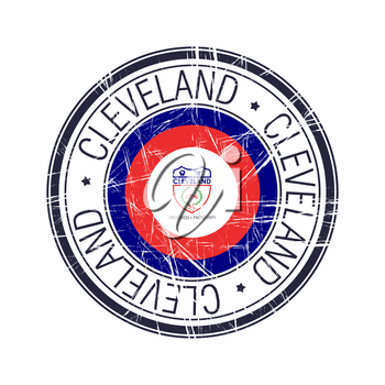 City of Cleveland, Ohio postal rubber stamp, vector object over white background