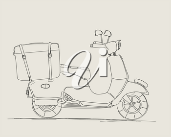Vintage scooter vector sketch drawing