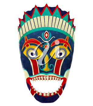 Watercolor tribal mask on white background