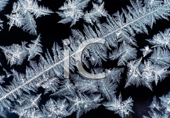 Royalty Free Photo of Frost Patterns on a Window With Dark Background