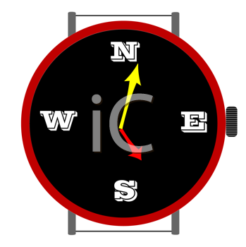 Royalty Free Clipart Image of a Clock With Directions