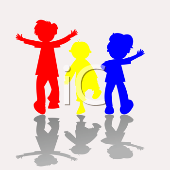 Royalty Free Clipart Image of Primary Coloured Silhouettes of Children