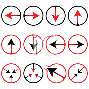 arrows icons against white background, abstract vector art illustration