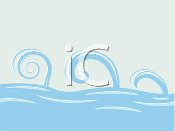 waves over sea abstract drawing, vector art illustration