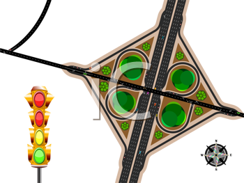 highway exit, aerial view with traffic lights and wind rose; abstract vector art illustration