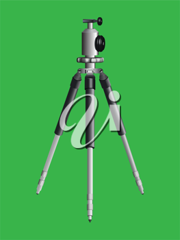 tripod for camera against green background; abstract vector art illustration