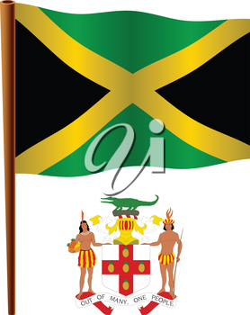 jamaica wavy flag and coat of arms against white background, vector art illustration, image contains transparency