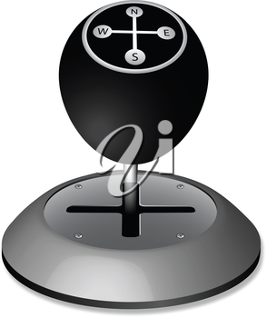 manual geographic gearshift against white background, abstract vector art illustration; image contains transparency