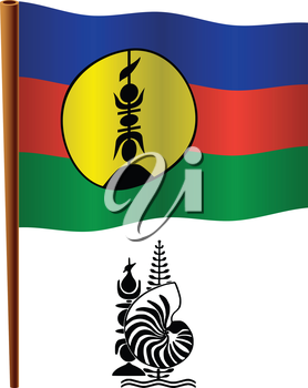 new caledonia wavy flag and coat of arms against white background, vector art illustration, image contains transparency
