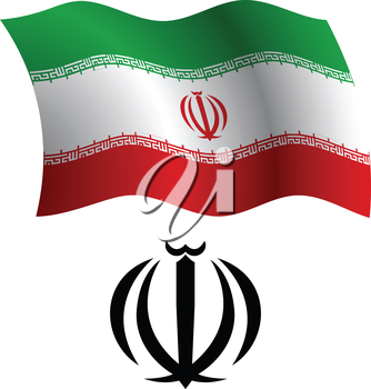 iran wavy flag and coat of arms against white background, vector art illustration, image contains transparency