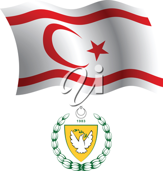 turkish republic of northern cyprus wavy flag and coat of arm against white background, vector art illustration, image contains transparency